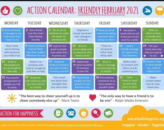 Friendly February Action Calendar