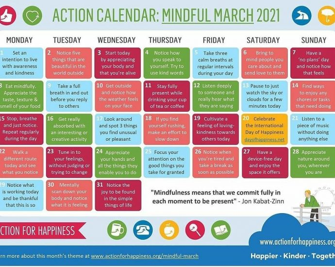Mindful March Action Calendar